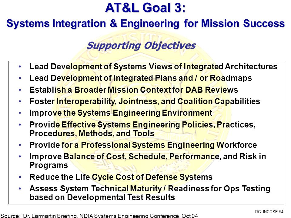 AT&L Goal 3: Systems Integration & Engineering for Mission Success