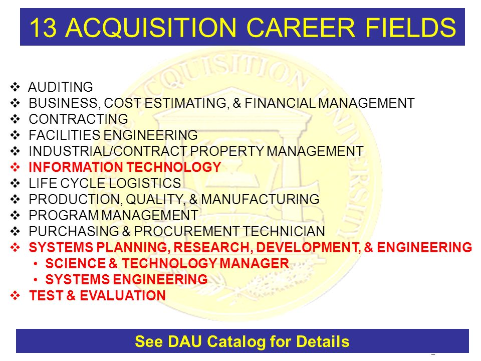 13 ACQUISITION CAREER FIELDS