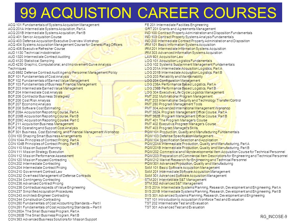 99 ACQUISTION CAREER COURSES