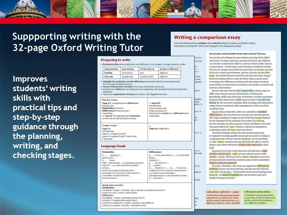 Suppporting writing with the 32-page Oxford Writing Tutor