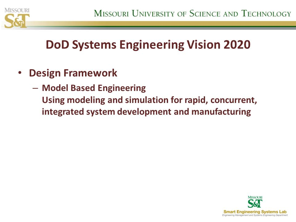 DoD Systems Engineering Vision 2020