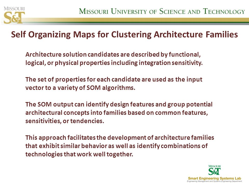 Self Organizing Maps for Clustering Architecture Families