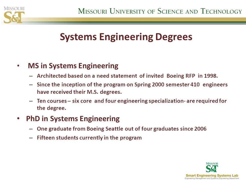 Systems Engineering Degrees