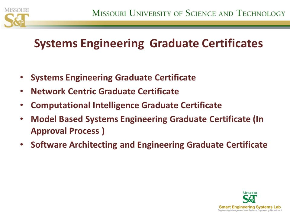 Systems Engineering Graduate Certificates