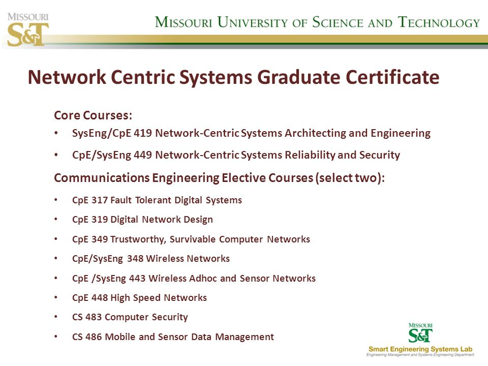Network Centric Systems Graduate Certificate