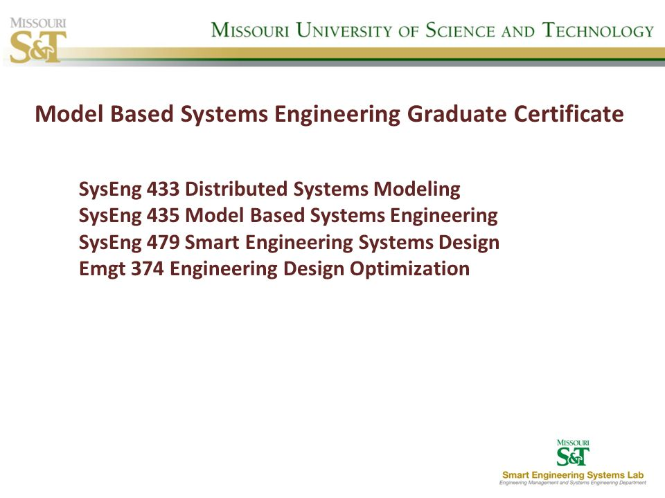 Model Based Systems Engineering Graduate Certificate