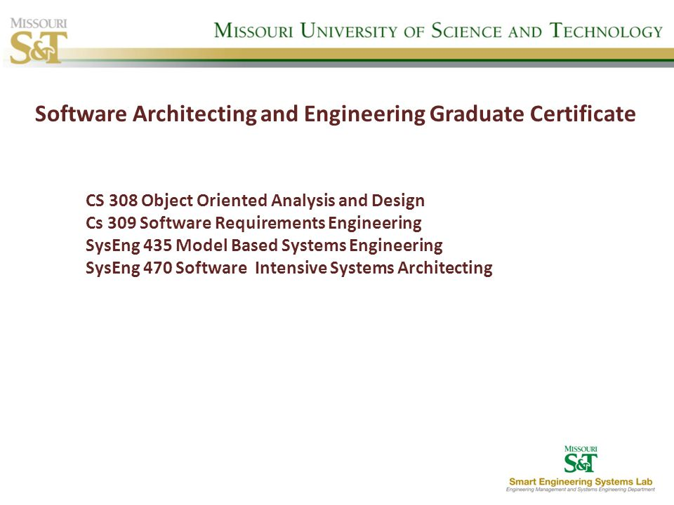 Software Architecting and Engineering Graduate Certificate