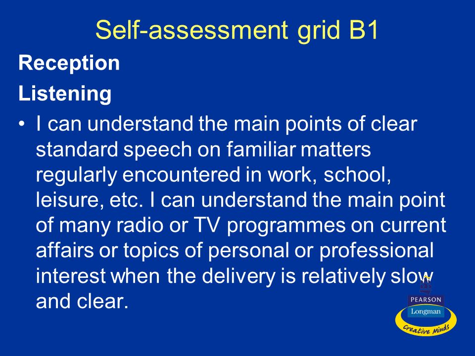 Self-assessment grid B1