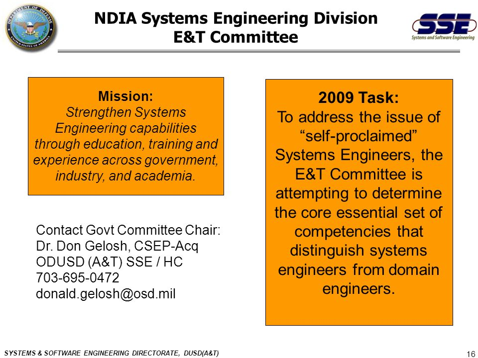 NDIA Systems Engineering Division E&T Committee
