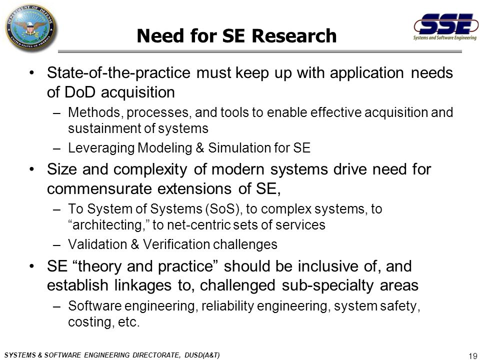 Need for SE Research State-of-the-practice must keep up with application needs of DoD acquisition.