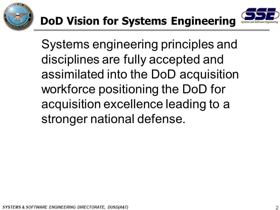 DoD Vision for Systems Engineering