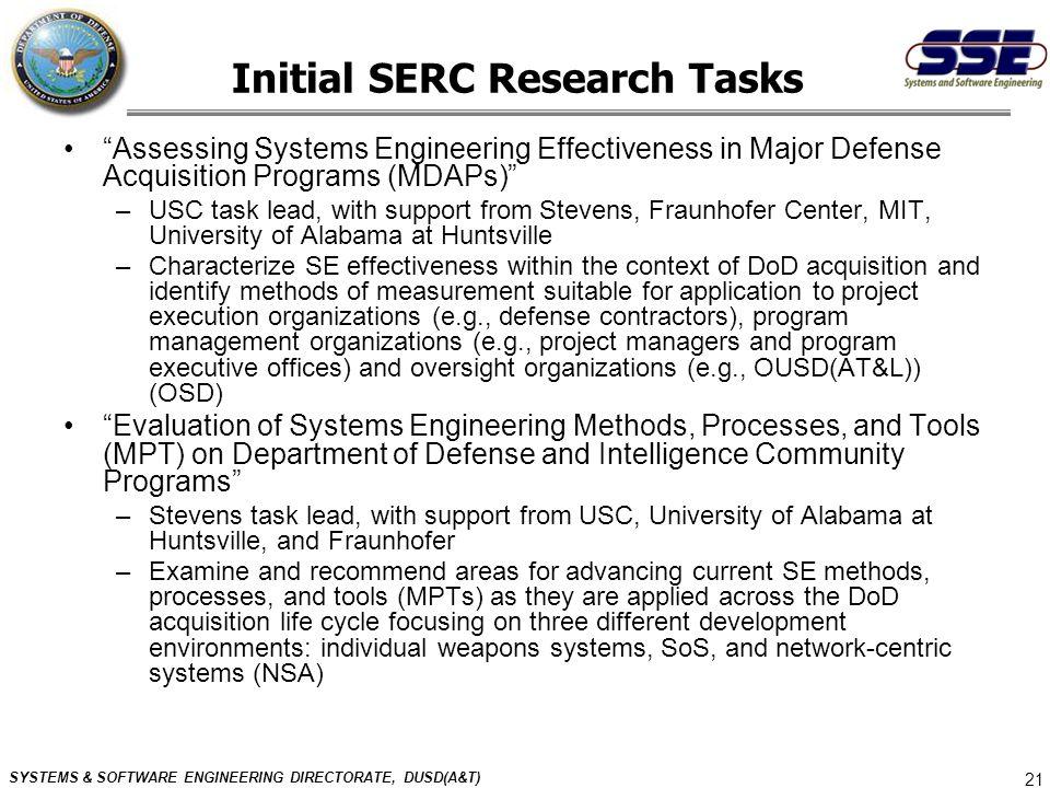 Initial SERC Research Tasks