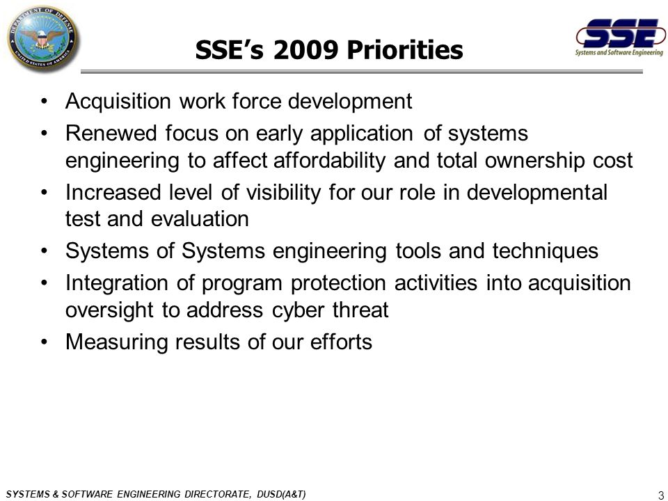 SSE's 2009 Priorities Acquisition work force development