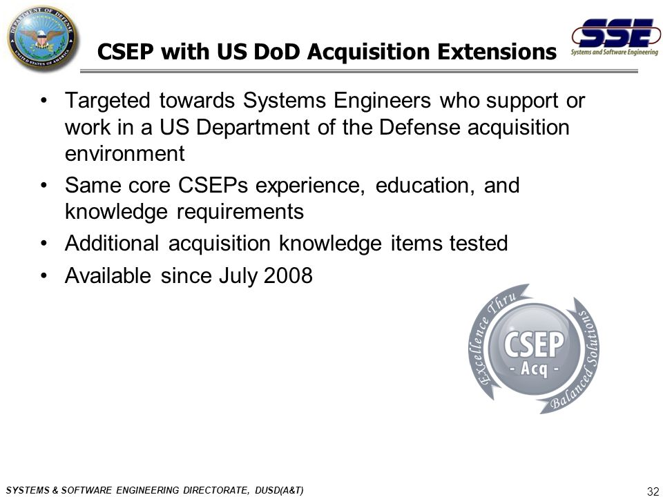 CSEP with US DoD Acquisition Extensions
