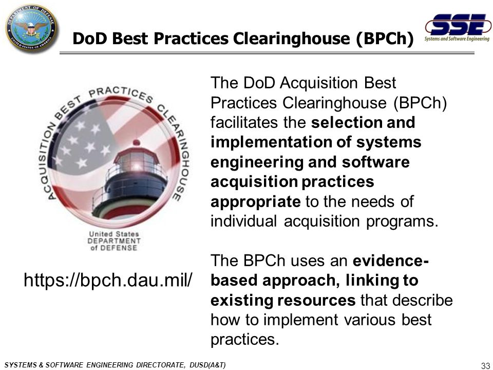 DoD Best Practices Clearinghouse (BPCh)