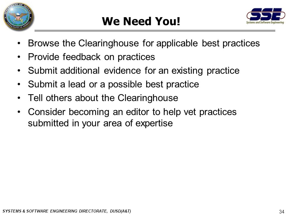 We Need You! Browse the Clearinghouse for applicable best practices