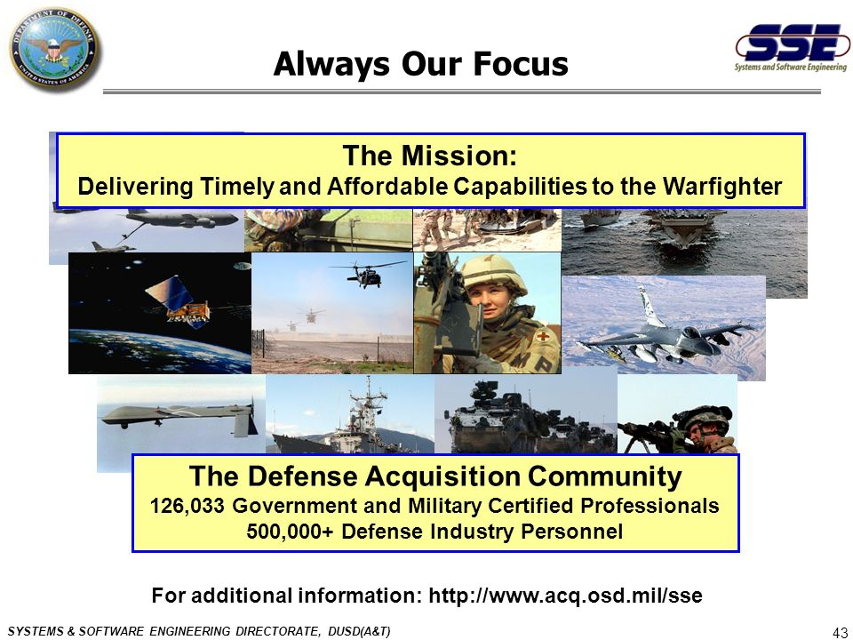 Always Our Focus The Mission: The Defense Acquisition Community