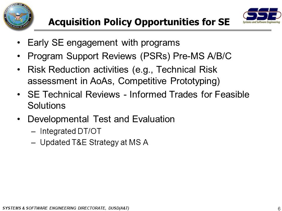 Acquisition Policy Opportunities for SE