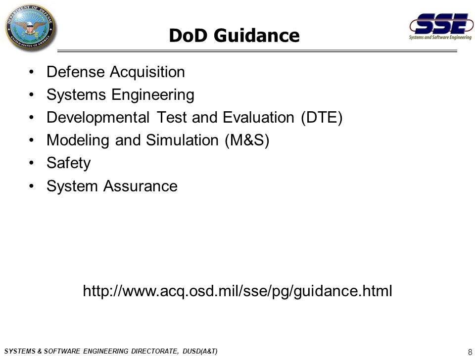 DoD Guidance Defense Acquisition Systems Engineering