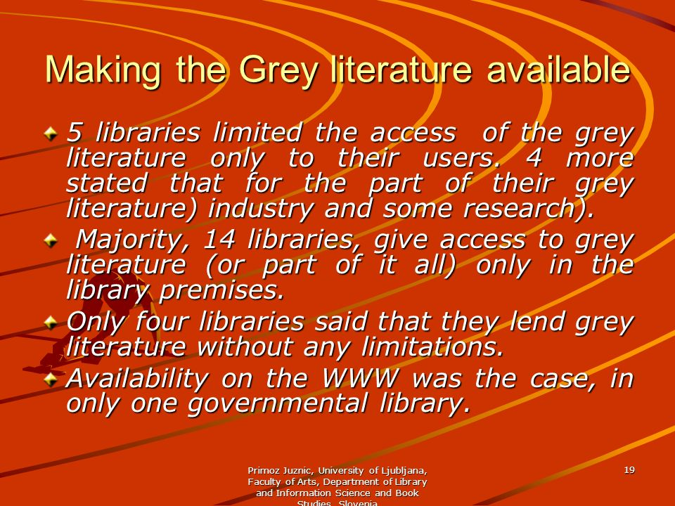 Making the Grey literature available