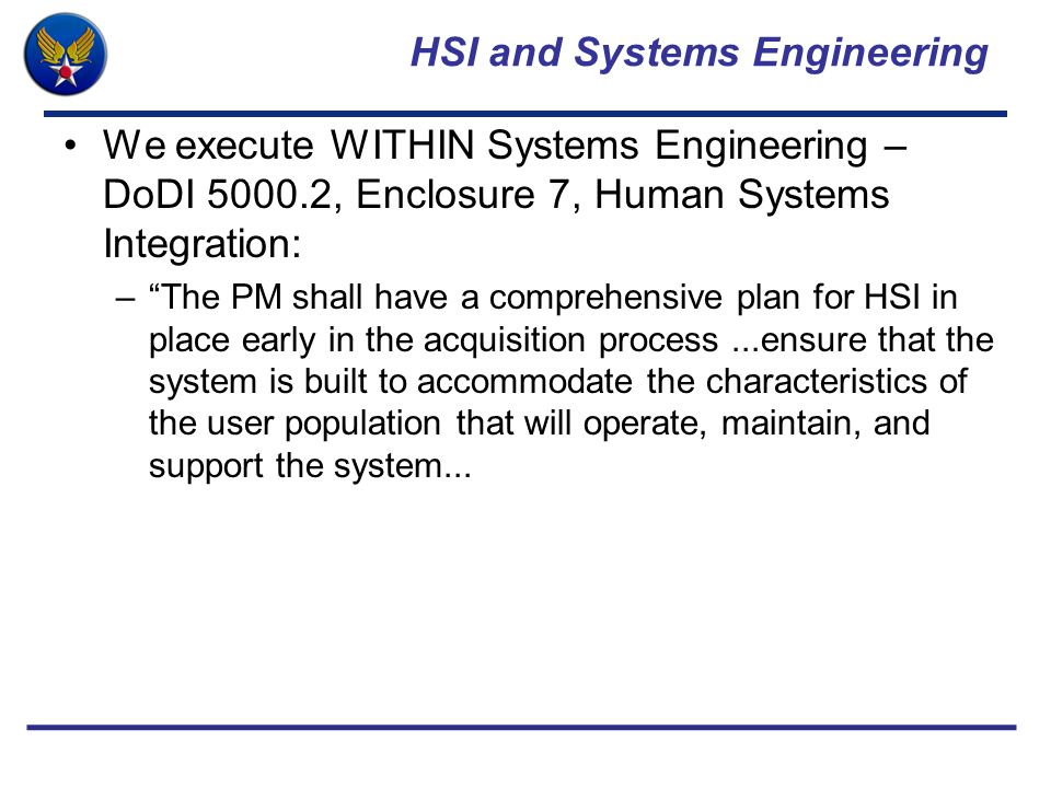 HSI and Systems Engineering