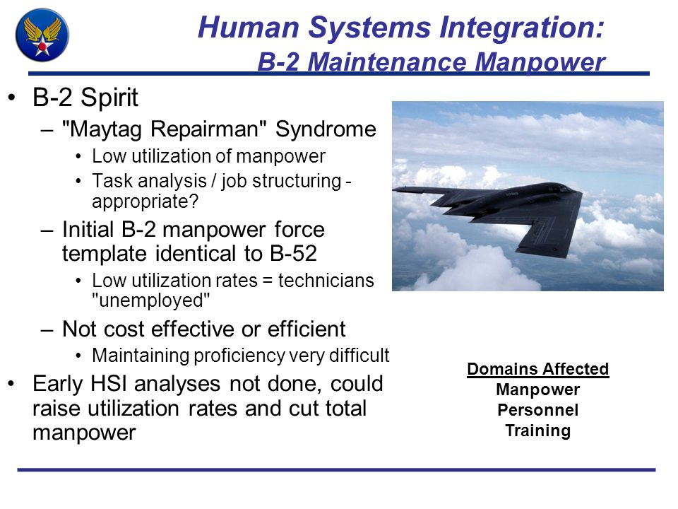 Human Systems Integration: B-2 Maintenance Manpower