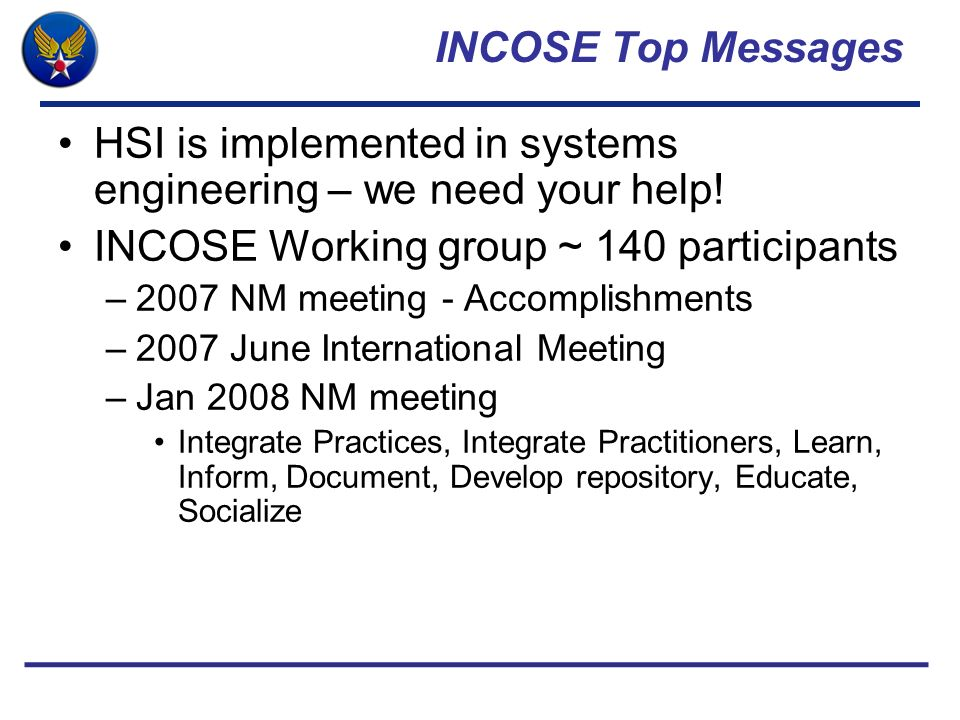 HSI is implemented in systems engineering – we need your help!