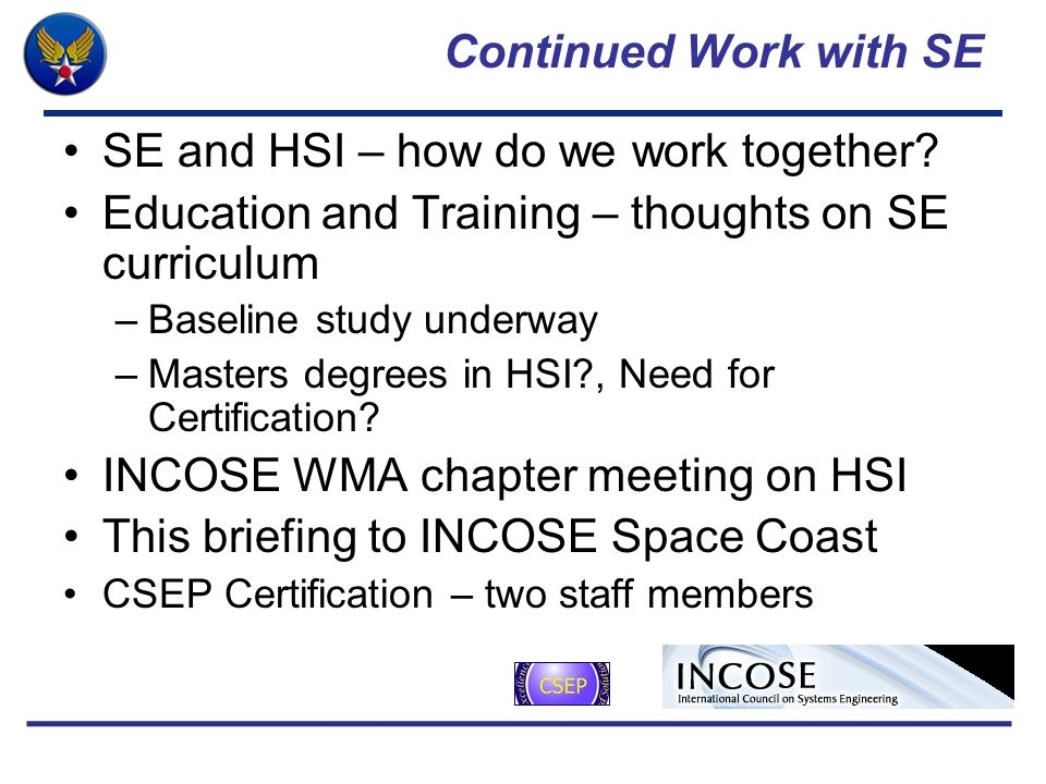 SE and HSI – how do we work together