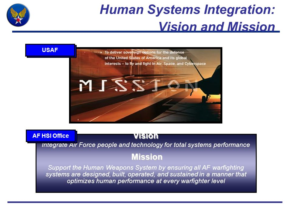Human Systems Integration: Vision and Mission