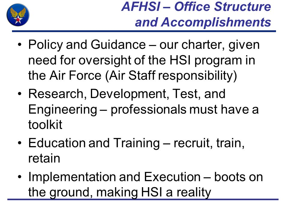 AFHSI – Office Structure and Accomplishments