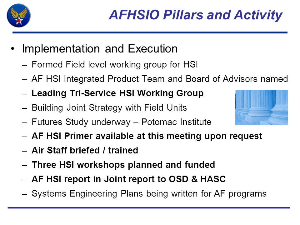 AFHSIO Pillars and Activity