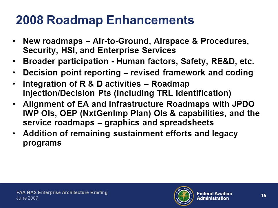 2008 Roadmap Enhancements New roadmaps – Air-to-Ground, Airspace & Procedures, Security, HSI, and Enterprise Services.