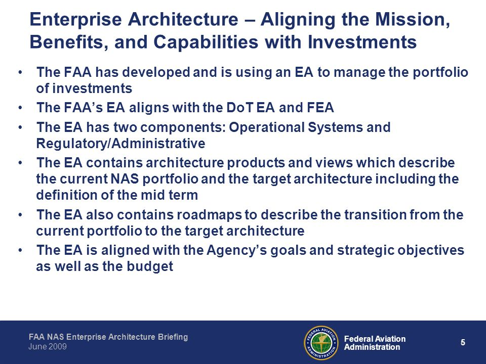 Enterprise Architecture – Aligning the Mission, Benefits, and Capabilities with Investments