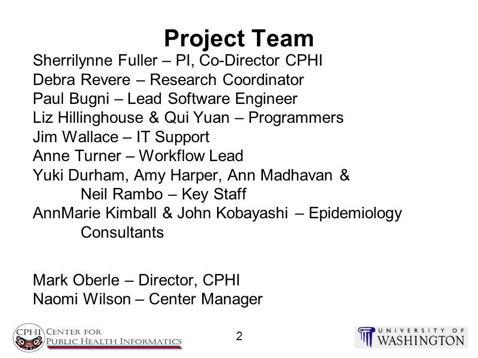 Project Team Sherrilynne Fuller – PI, Co-Director CPHI