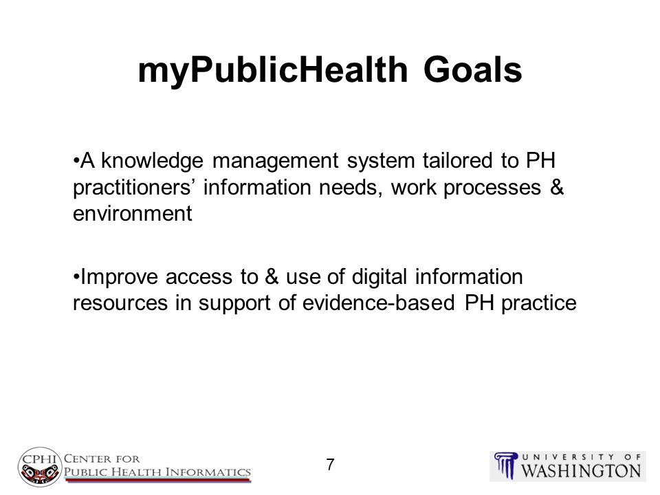 myPublicHealth Goals A knowledge management system tailored to PH practitioners' information needs, work processes & environment.