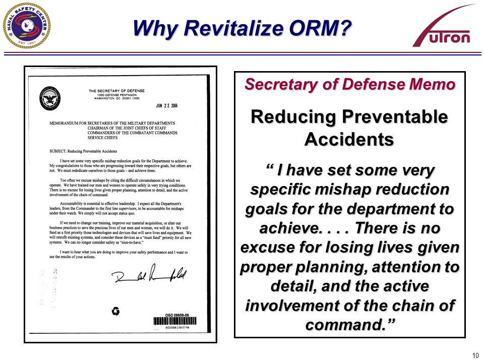 Secretary of Defense Memo Reducing Preventable Accidents