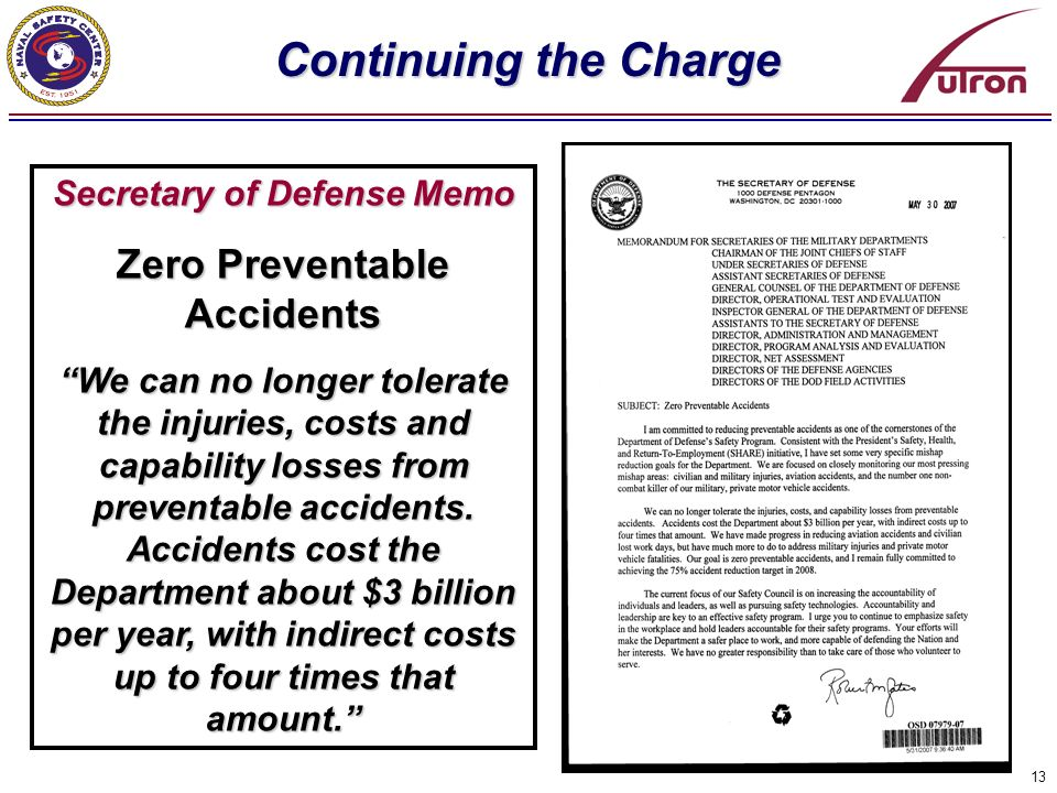 Secretary of Defense Memo Zero Preventable Accidents