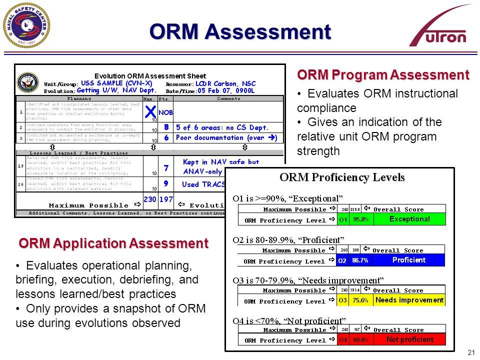 ORM Program Assessment ORM Application Assessment