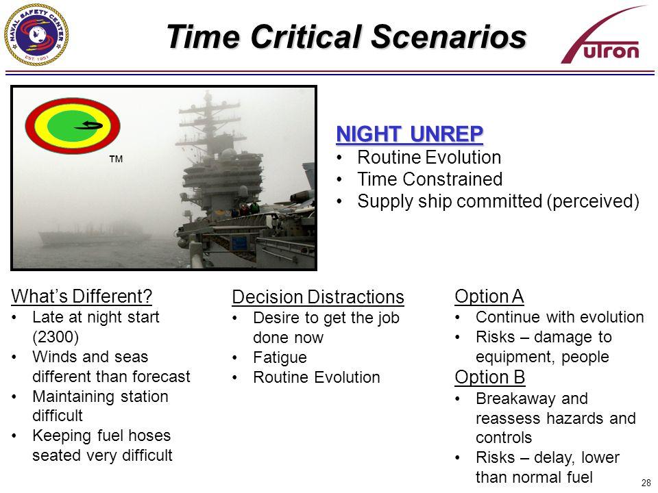 Time Critical Scenarios