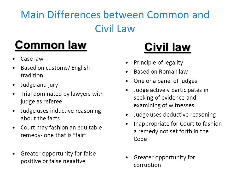 civil law essay Common law (characteristics)for comparing or contrast purpose common law systems are mostly found in former british colony and protectorate including us, it is less prescriptive than civil law system,citizens are benefited by enactment and legislation in specific fieldsmore often are the implied terms usage 1)represents the law of courts.