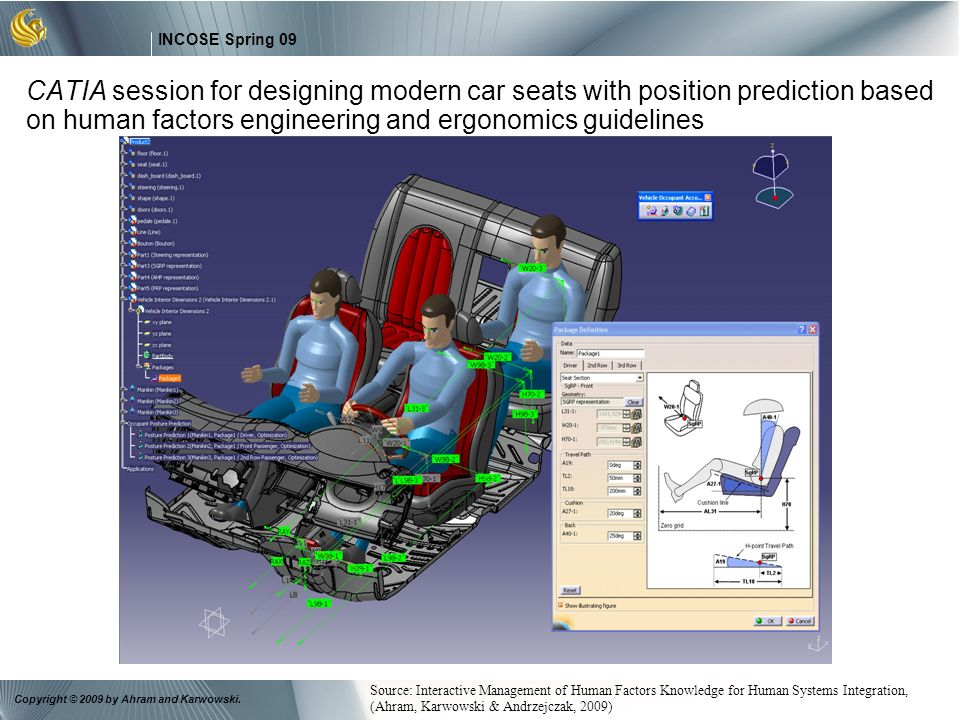 CATIA session for designing modern car seats with position prediction based on human factors engineering and ergonomics guidelines
