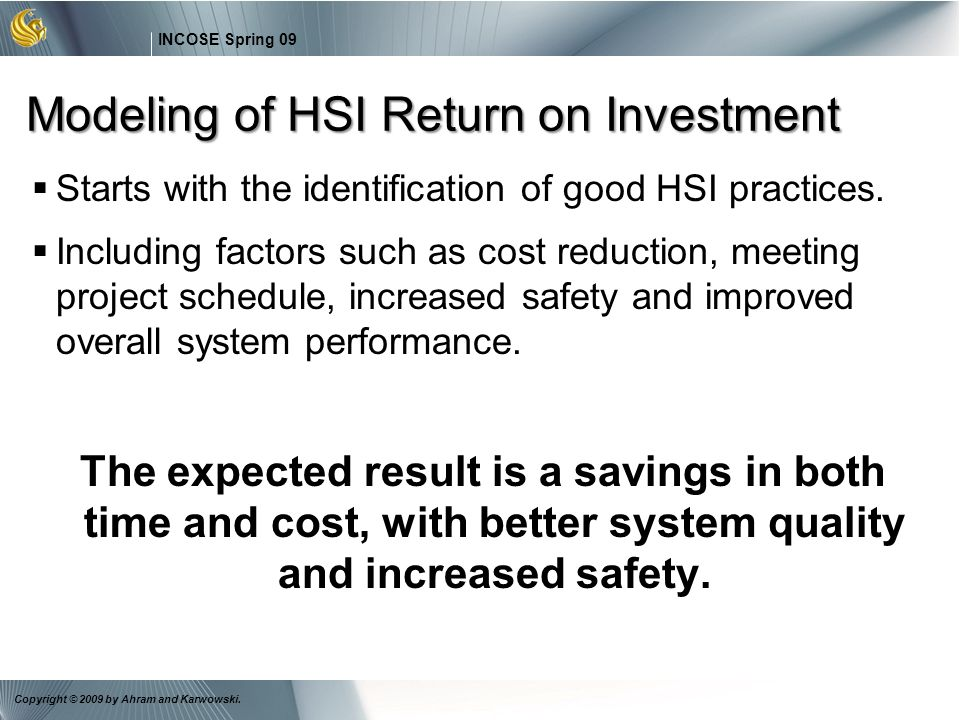 Modeling of HSI Return on Investment