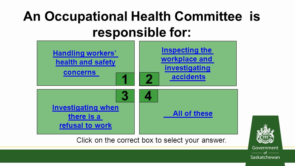occupational safety and health and committee Occupational health committee (ohc) trainingworksafe offers in-class training for occupational health committee members and workplace supervisors read the short course summaries to determine which ones fit your needs.