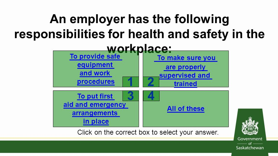 responsibilities in health and safety Rights and responsibilities employee rights and responsibilities as a worker to not be discriminated against for exercising your health and safety rights.