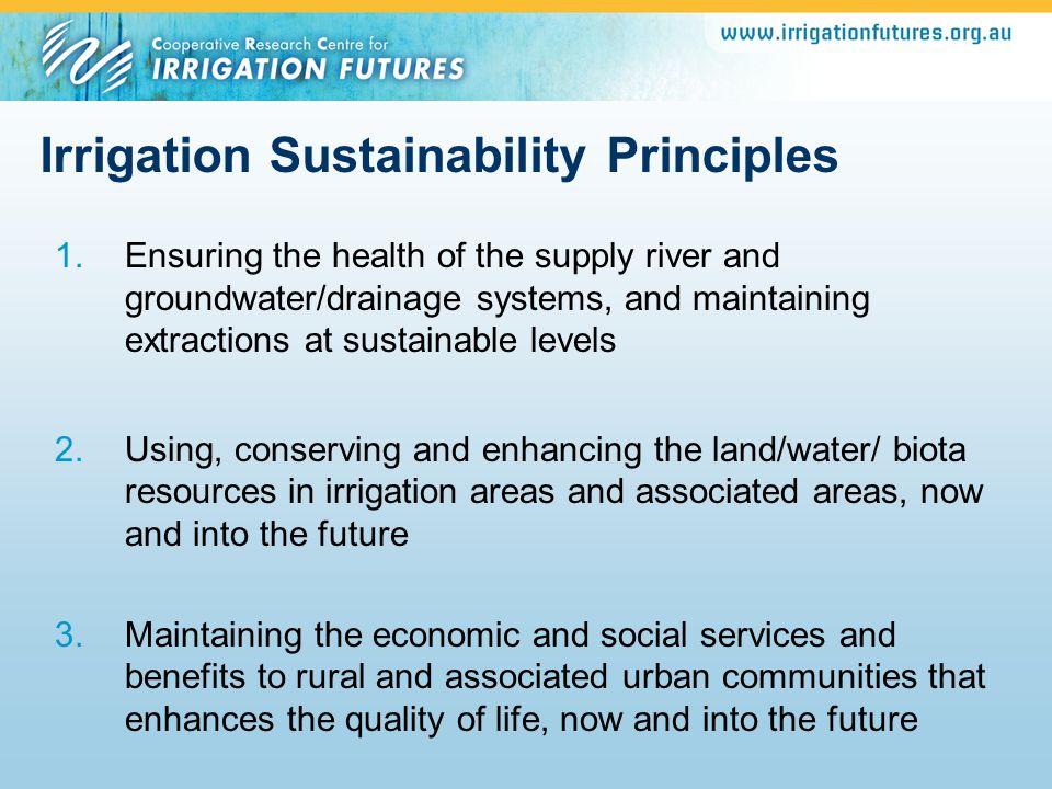 Irrigation Sustainability Principles