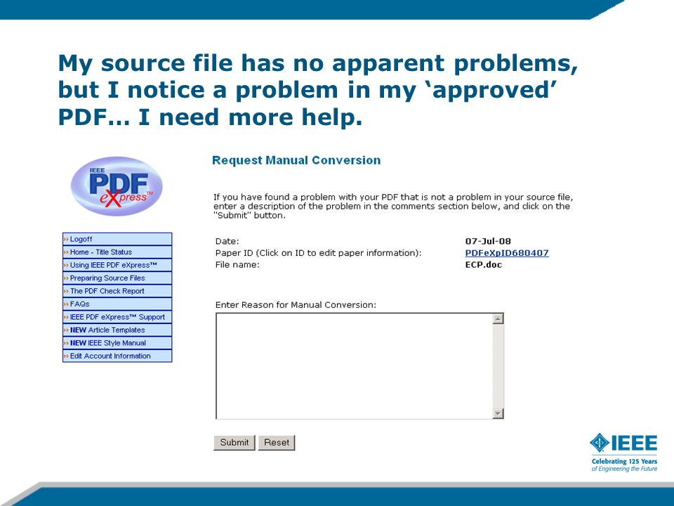 My source file has no apparent problems, but I notice a problem in my 'approved' PDF… I need more help.