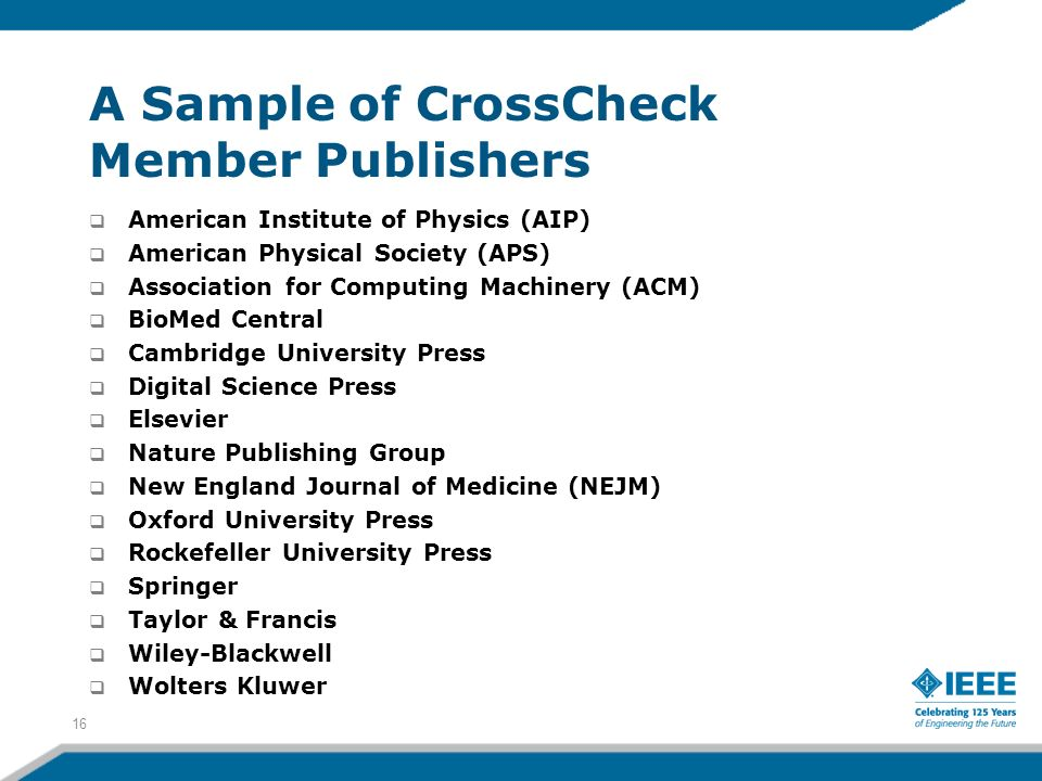 A Sample of CrossCheck Member Publishers