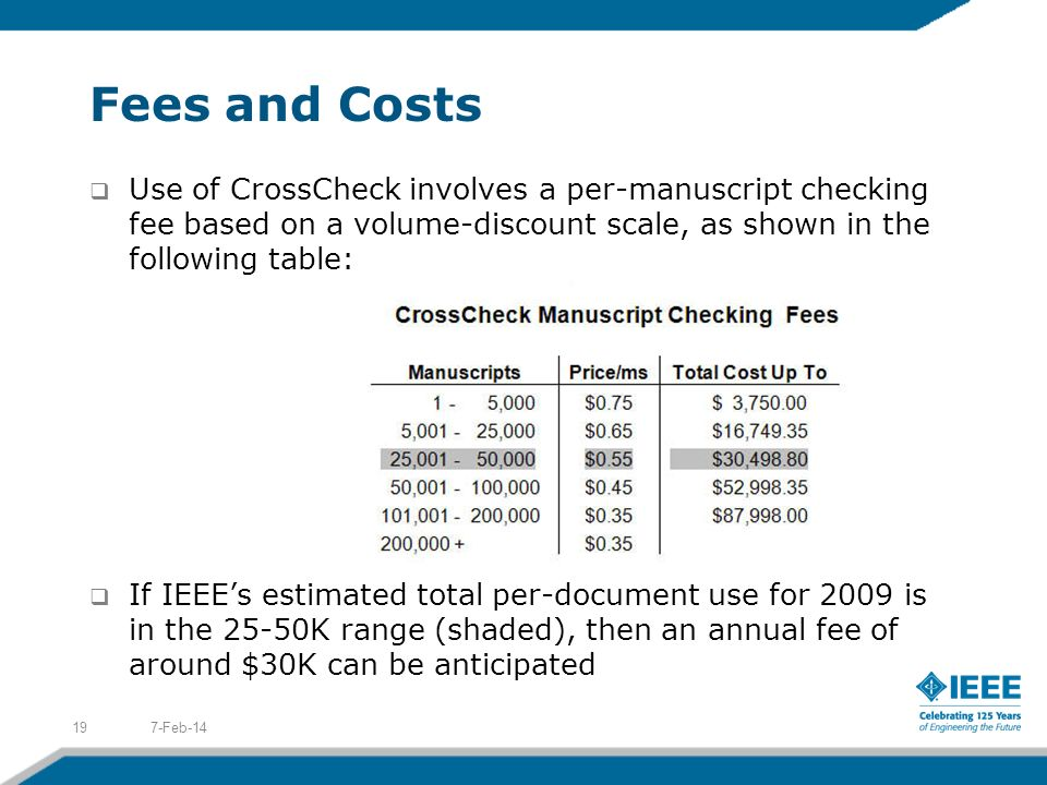 Fees and Costs Use of CrossCheck involves a per-manuscript checking fee based on a volume-discount scale, as shown in the following table: