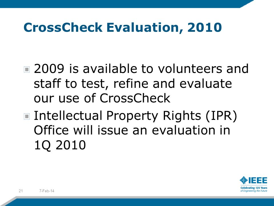 CrossCheck Evaluation, 2010