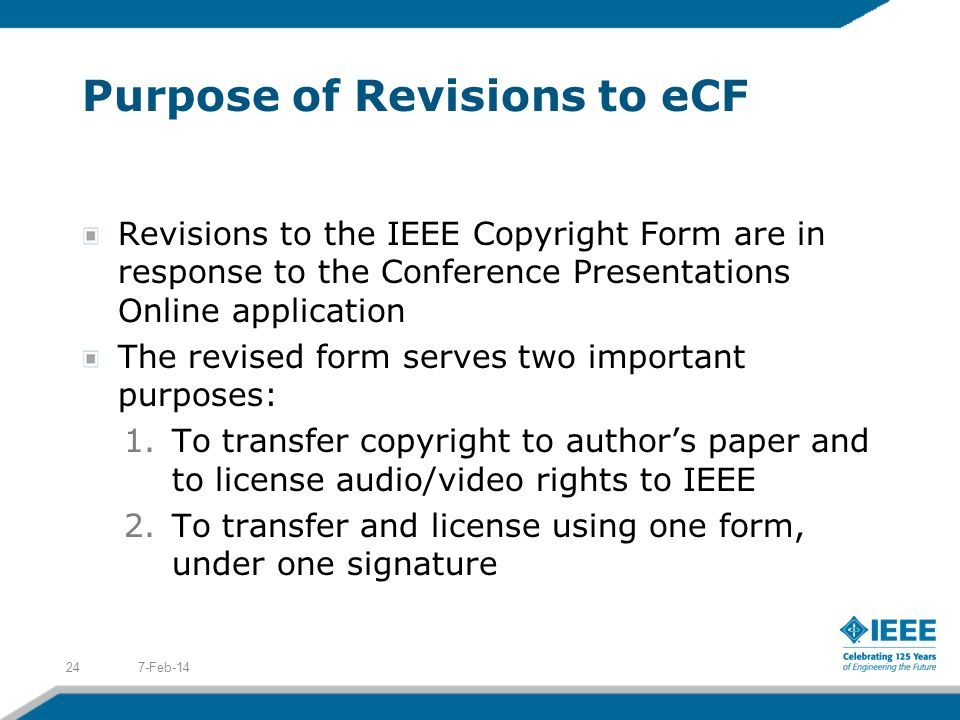Purpose of Revisions to eCF